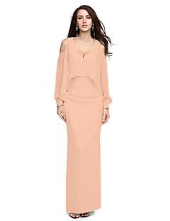 billige Høst 2013-Tube / kolonne V-hals Gulvlang Chiffon Formell kveld Kjole med Perlearbeid av TS Couture®