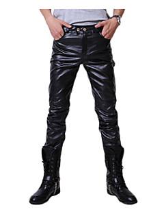 Men's Mid Rise Micro-elastic Skinny Pants,Punk & Gothic Slim Solid