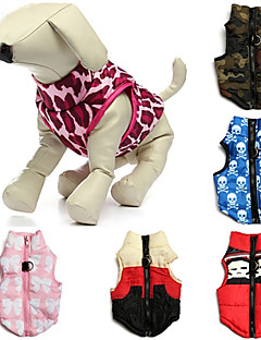 ネコ 犬 コート ベスト 犬用ウェア カジュアル/普段着 保温 スカル カモフラージュ レッド ブルー ピンク 迷彩色 レッド-ホワイト コスチューム ペット用