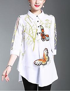 Polyester Medium 3/4 ermer,Skjortekrage Skjorte Trykt mønster Sommer Høst Enkel Søt Ut på byen Fritid/hverdag Dame