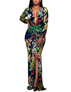 Women's Party Plus Size Club Sexy Vintage Boho Bodycon DressFloral Deep V Maxi Long Sleeve Split Over Hip Spring Fall High Rise Micro-elastic