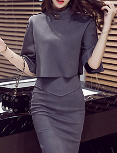 Women's Going out Casual/Daily Boho Fall Winter T-shirt Skirt Suits,Solid Stand ¾ Sleeve Inelastic
