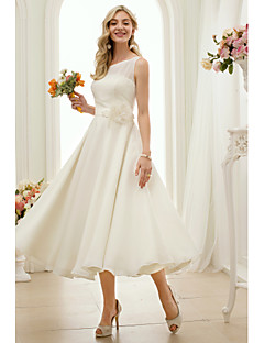 cheap Plus Size Wedding Dresses-A-Line Jewel Neck Tea Length Chiffon Custom Wedding Dresses with by LAN TING BRIDE®
