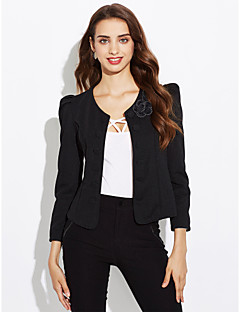 Women's Simple Work Spring Fall Blazer,Solid Round Neck Long Sleeve Regular Others