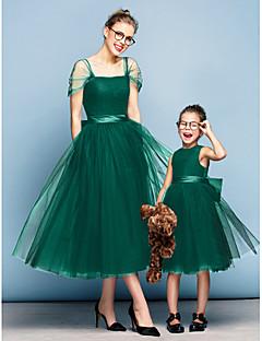 billige Mini-me-Prinsesse Firkantet hals Te-længde Tyl Elegant Skolebal / Formel aften Kjole med Sløjfe(r) / Krøllede Folder ved TS Couture®