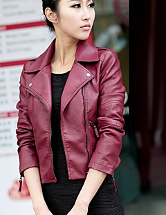 Hot! S-3XL Plus Size Women's Going out Casual/Daily Work Sexy Street chic Punk & Gothic Spring Fall Leather JacketSolid Shirt Collar  Short PU