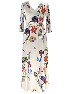 Women's Plus Size Casual/Daily Street chic Sheath Dress,Floral V Neck Maxi 3/4 Length Sleeves Cotton Polyester Fall Mid Rise Stretchy Thin