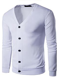 tanie Męskie swetry i swetry rozpinane-Męskie Wełna Na co dzień W serek Rozpinany Jendolity kolor Długi rękaw