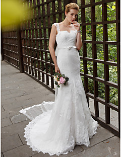 cheap Plus Size Wedding Dresses-Mermaid / Trumpet Straps Chapel Train Lace Tulle Custom Wedding Dresses with Appliques Sashes/ Ribbons by LAN TING BRIDE®