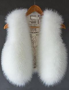 Dames Eenvoudig Herfst Winter Vest,Casual/Dagelijks Effen V-hals Mouwloos Kort Vossenbont
