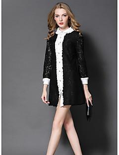Kadın Dışarı Çıkma Sevimli Kılıf Elbise Zıt Renkli,Uzun Kollu Gömlek Yaka Diz üstü Polyester Sonbahar Normal Bel Mikro-Esnek Orta
