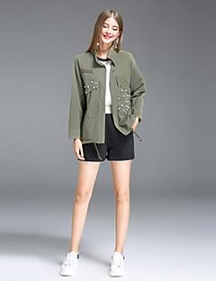 Damen Solide Einfach Ausgehen Lässig/Alltäglich Jacke,Ständer Herbst Lange Ärmel Standard Baumwolle Polyester Perlenbesetzt