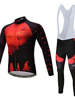 Cycling Jersey with Bib Tights Unisex Long Sleeves Bike Clothing Suits Thermal / Warm Thick Polyester Fleece Silicon LYCRA® Winter