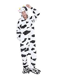 Kigurumi Pyjamas Melkeku Kostume Hvit Flannelstoff Cosplay Kostumer Sko Kigurumi Trikot / Heldraktskostymer Cosplay Festival / høytid