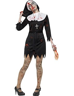 billige Halloweenkostymer-Bloody Mary Kjoler Cosplay Kostumer Dame Halloween Karneval De dødes dag Festival / høytid Halloween-kostymer Svart/Hvit Vintage