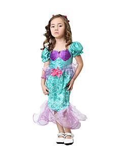 billige Halloweenkostymer-Prinsesse Cinderella Havfruehale Eventyr Badedrakt Kjoler Jente Halloween Karneval Festival / høytid Halloween-kostymer Mangefarget
