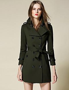 Damen Solide Einfach Lässig/Alltäglich Trench Coat,Hemdkragen Herbst Lange Ärmel Standard Polyester