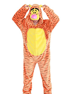 billige Kigurumi-Kigurumi-pysjamas Tiger Onesie-pysjamas Kostume Flannelstoff Cosplay Til Voksne Pysjamas med dyremotiv Tegnefilm Halloween Festival /