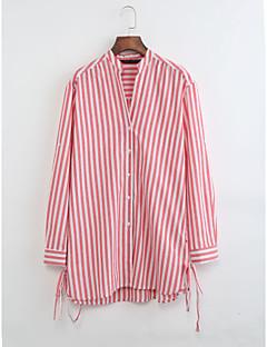 economico Top da donna-Camicia Per donna Tinta unita A strisce Colletto alla coreana - Cotone Lino