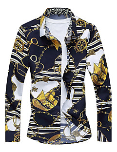 Bomull Polyester Langermet,Skjortekrage Skjorte Blomstret Høst Vinter Vintage Bohem SøtFest Ut på byen Fritid/hverdag Klubb