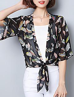 여성 플로럴 프린트 V 넥 반 소매 블라우스,귀여운 데이트 캐쥬얼/데일리 폴리에스테르 여름 가을 중간