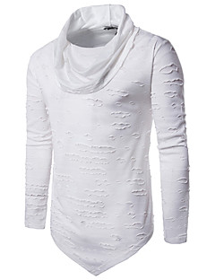 Men's Daily Going out Casual Winter Fall T-shirt,Solid Turtleneck Long Sleeves Cotton Polyester
