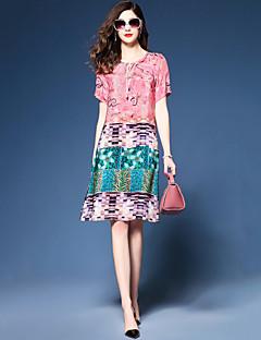preiswerte -Damen Lose Chiffon Kleid-Party Ausgehen Übergröße Retro Einfach Druck Einfarbig Rundhalsausschnitt Knielang Kurzarm PolyesterSommer