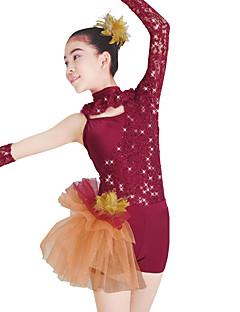 tanie Stroje taneczne do jazzu-Balet Leotards Damskie Wydajność Koronka Tiul Lycra Cekin Koronka Długi rękaw Naturalny