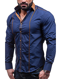 Men's Party Plus Size Simple Vintage Street chic Spring Fall Shirt,Solid Shirt Collar Long Sleeves Cotton Thick