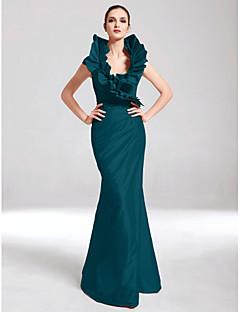 billiga Aftonklänningar-Trumpet / sjöjungfru V-hals Golvlång Taft Formell kväll Klänning med Sidodraperad / Krusad av TS Couture®