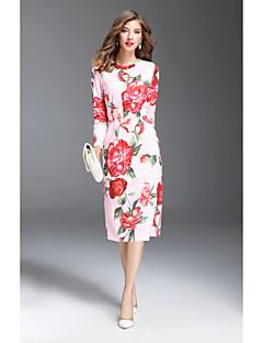 Damer Sødt I-byen-tøj Skede Kjole Trykt mønster,Rund hals Midi Langærmet Polyester Efterår Alm. taljede Mikroelastisk Medium