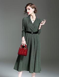 Kadın Dışarı Çıkma Günlük/Sade Basit Çan Elbise Solid,Uzun Kollu V Yaka Midi İpek Keten Polyester Kış Sonbahar Normal Bel Esnemez Opak
