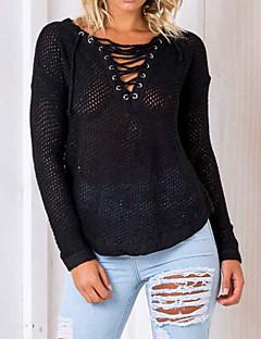 tanie Swetry damskie-Damskie Praca Wyjściowe Moda miejska W serek Pulower Jendolity kolor Długi rękaw