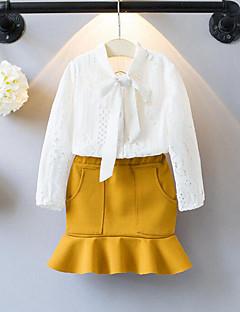 billige Tøjsæt til piger-Pige Tøjsæt Patchwork, Rayon Polyester Forår Efterår Langærmet Folder Blonde Hvid