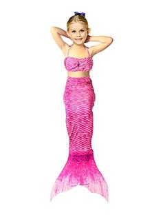tanie Odzież dla dziewczynek-Dla dziewczynek Wzór zwierzęcy Geometic Stroje kąpielowe, Mieszanka bawełny Clover Orange Czerwony Fuchsia Rainbow
