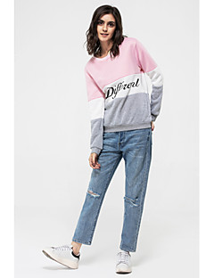 Women's Preppy Cute Letter Print Color Block Round Loose Long Sleeve Hoodies