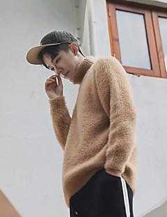Herren Kurz Pullover-Ausgehen Lässig/Alltäglich Solide Rollkragen Langarm Wolle Andere Mohair Frühling Herbst Mittel Mikro-elastisch