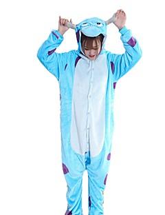 billige Kigurumi-Kigurumi-pysjamas Blå Monster Tegneserie Onesie-pysjamas Kostume Flannelstoff Blå Cosplay Til Pysjamas med dyremotiv Tegnefilm Halloween