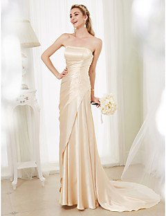 Sheath Column Strapless Court Train Stretch Satin Made To Measure Wedding Dresses With Beading Side D By Lan Ting Bride Dress In Color