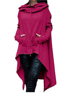 Women's Daily Casual Hoodie Solid Hooded Inelastic Cotton Long Sleeve Fall