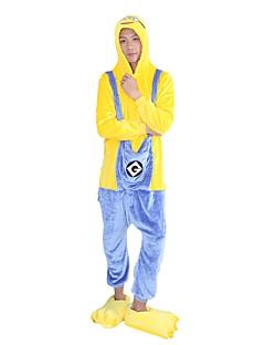 billige Kigurumi-Voksne Kigurumi-pysjamas Tegneserie Mini gule menn Onesie-pysjamas Flannelstoff Gul Cosplay Til Damer og Herrer Pysjamas med dyremotiv Tegnefilm Halloween Festival / høytid