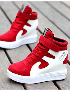 hesapli -Kadın's Ayakkabı Tüylü Domuz Derisi Kış Sonbahar Rahat Spor Ayakkabısı Günlük için Siyah/Beyaz Kırmızı/Beyaz Siyah/Kırmızı Beyaz/Gümüş