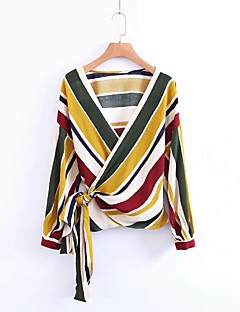 Women's Going out Casual/Daily Sexy Simple Street chic Spring Summer Blouse,Striped V Neck Long Sleeves Cotton Polyester Thin Medium