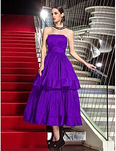 billige Høst 2013-A-linje Stroppeløs Telang Taft Formell kveld / Militærball Kjole med Drapering av TS Couture®