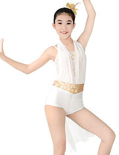 MiDee Jazz Unitards Women's / Children's Performance Spandex / Paillettes / Flower(s) / Sash/Ribbon 2 Pieces Ivory Jazz