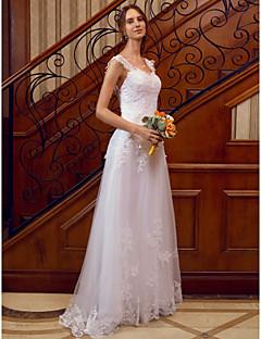 billiga Plusstorlek brudklänningar-A-linje remmar Golvlång Spets på tyll Bröllopsklänningar tillverkade med Applikationsbroderi / Spets av LAN TING BRIDE® / Genomskinliga