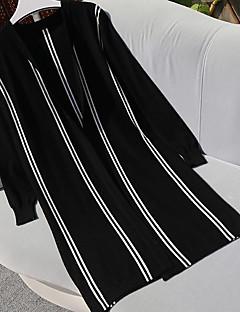 baratos Suéteres de Mulher-Mulheres Manga Longa Algodão Longo Carregam - Sólido / Listrado Algodão / Decote V / Primavera / Outono / Belas Stripe