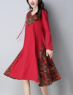 סתיו כותנה פשתן שרוול ארוך עד הברך עם קפוצ'ון דפוס טלאים וינטאג' סגנון סיני יום יומי\קז'ואל שמלה משוחרר נשים,גיזרה בינונית (אמצע) קשיח
