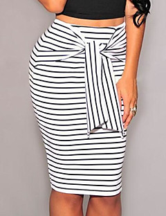 Women's Daily Work Above Knee Skirts,Casual Sexy Bodycon Others Striped Color Block Summer