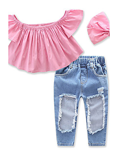 cheap Girls' Clothing Sets-Girls' Solid Clothing Set, Cotton Spandex Summer Short Sleeves Dresswear Blushing Pink